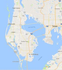 St. Petersburg, Clearwater, Tampa Bay area map